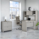 gray sand echo l desk with hutch and lateral file