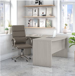 gray sand echo l shaped desk and leather office chair set