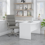 pure white echo l shaped desk and leather office chair set