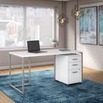 white method office desk with file pedestal