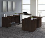 black walnut height adjustable office 500 u-desk