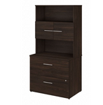 office 500 bookcase with lateral file in black walnut