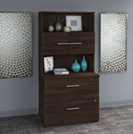 black walnut office 500 bookcase with lateral file