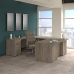 modern hickory office 500 complete executive desk and chair set