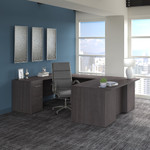 storm gray office 500 complete executive desk and chair set