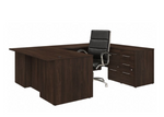 office 500 complete executive desk and chair set in black walnut