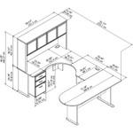 series a u shaped desk with hutch dimensions