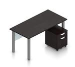 superior laminate desk with pedestal in espresso