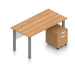 superior laminate desk with pedestal in autumn walnut
