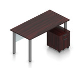 superior laminate desk with pedestal in mahogany