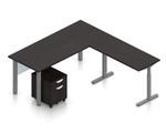 espresso superior laminate reversible l-desk with height adjustable bridge