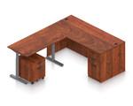 dark cherry ergonomic l shaped desk