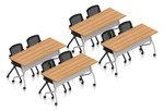 autumn walnut 8 person training room table and chair set