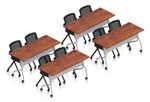 cherry 8 person training room table and chair set
