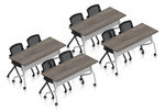 artisan gray 8 person training room table and chair set