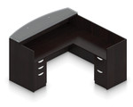 espresso reversible l shaped reception desk with glass top