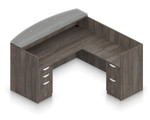 gray reversible l shaped reception desk with glass top