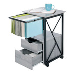 mood pedestal with open drawers