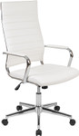 white ribbed back office chair