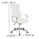 white ribbed back office chair dimensions
