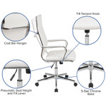 white ribbed back office chair features