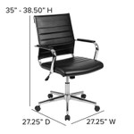 flash furniture mid back ribbed office chair dimensions