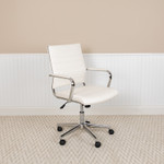 white mid back ribbed chair