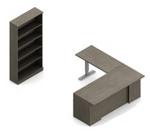 zira ergonomic l desk with bookcase