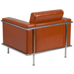 tufted cognac leather lounge chair