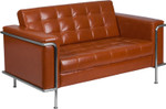 tufted cognac loveseat