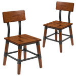 2 pack of rustic antique walnut dining chairs