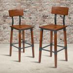 rustic antique industrial walnut bar stools