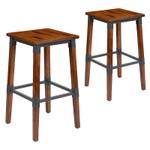 2 pack of antique rustic walnut bar stools