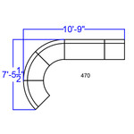 white j-shaped lounge seating layout dimensions
