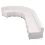white j-shaped lounge seating layout