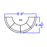 crescent shaped lounge seating set dimensions