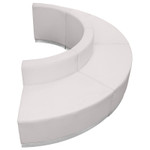 curved white lounge seating set - side profile