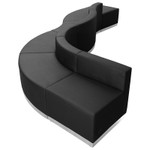curved black reception sectional