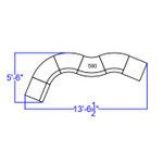 curved black reception sectional dimensions