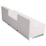 3 piece white reception bench back view