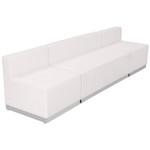 alon white leather 3 piece reception bench