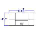 alon loveseat and ottoman set - dimensions