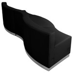 alon 3 piece curved black reception bench back view