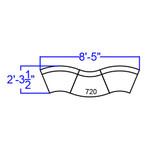 alon 3 piece curved black reception bench dimensions