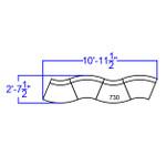 4 piece alon curved reception configuration dimensions