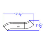 white 3 piece alon sectional set dimensions