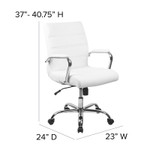 flash furniture contemporary white office chair dimensions