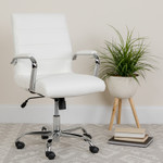 flash furniture contemporary white office chair in workspace