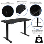 """48"""" x 24"""" height adjustable electric desk features"""