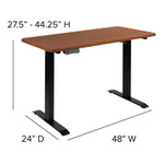 height adjustable electric desk dimensions